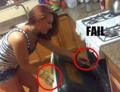 a funny image of a chick putting her hand inside the oven without gloves