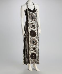 Take a look at this Black Batik Halter Maxi Dress by Apollo