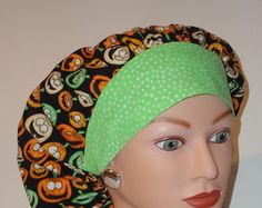 Perfect sized Bouffant Scrub Cap...Blue w/Snowmen/Blue by TwoSew