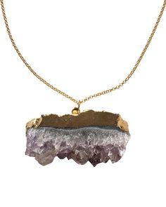 Crave Salt | Amethyst Chunk Gold Pendant Necklace #cravesalt #jewelry #loveandpieces