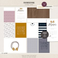 paislee press | Friendsgiving Journal Cards | 3x4 and 4x6 Journal Cards