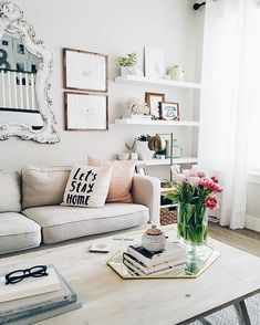 Living Room #inspiration! #interiors Love The Mirror Frames And Floating  Shelves