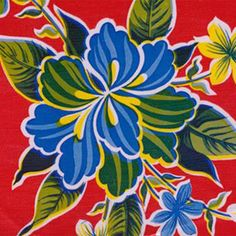 Red Hibiscus Oilcloth Fabric / Great for Beach Bags and Tablecloths. Oilcloth Alley / www.oilclothalley.com