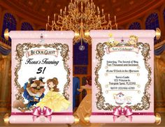 Beauty and the Beast Birthday Invitations by WalkingMombieDesign Birthday Invitations, Birthday Cards, Party In A Box, Personalized Invitations, Lets Celebrate, Party Printables, Decoration, Beauty And The Beast, Rsvp