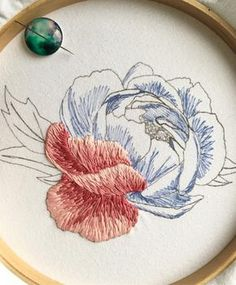 """548 Likes, 25 Comments - Kat - Pretty Little Needlework (@prettylittleneedlework) on Instagram: """"A slightly different view of my progress on the peony! Probably about 7 hours of work so far …"""""""