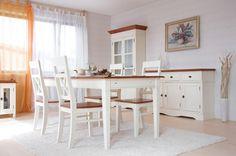 #Essgruppe 140cm Gotland - Esstisch & 6 Stühle - Pinie massiv - cremeweiß - gebeizt & lackiert