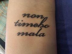 "'Non timebo mala' tattoo ; this comes from Supernatural and means ""I fear no evil"""