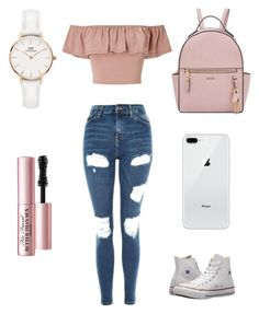"""School Life"" by mailee-2004 on Polyvore featuring Miss Selfridge, Topshop, Converse, Nine West, Daniel Wellington and Too Faced Cosmetics"