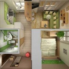 Sims House Plans, Dream House Plans, Small House Plans, House Floor Plans, Studio Apartment Layout, Studio Apartment Decorating, Apartment Design, Small Space Interior Design, Home Interior Design