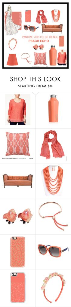 """Pantone 2016 COLOR TRENDS: PEACH ECHO"" by pearlana-jewelry on Polyvore featuring JM Collection, Corkcicle, Monica Vinader, Casetify, Fendi and Chloé"