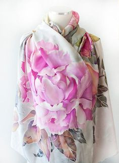 Hand Painted Silk Scarf Silk Shawl Peonies with Bird by aniutik