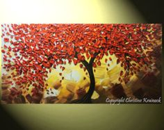 """ORIGINAL Art Abstract Painting Red Tree of Life Modern Textured Palette Knife Holiday Gift Large Wall Decor Blue Brown Gold 48"""" - Christine"""