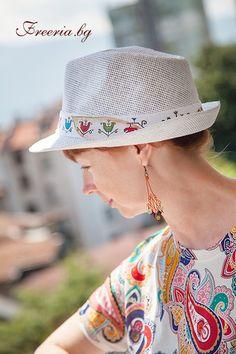 White summer hat with painted by hand ribbon, variation Summer Hats, Panama Hat, Ribbon, Fashion, Tape, Panama, Fashion Styles, Band, Fashion Illustrations