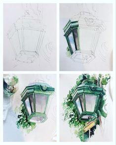 "12.2k Likes, 75 Comments - Julia Barminova WATERCOLOR (@juliabarminova) on Instagram: ""Step by step ✨ All my lanterns here #lanterninwatercolorsketchbook_jb Продолжаю рассказывать…"""
