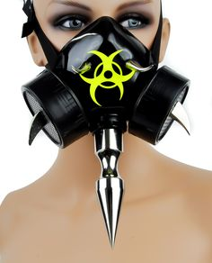 "- Bio Hazard Cosplay Mask w/ 6"" Spike - Yellow Bio Hazard Sign on Front - 6"" front spike - Nothing else like it - Adjustable elastic band - One size fits Most 6"" Spike Bio Hazard Gas Mask Gothic Indus"