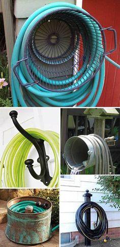 o diy garden hose storage ideas tutorials