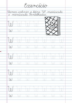 Atividade Letra W pontilhada para imprimir Alphabet Tracing Worksheets, Homeschool Worksheets, Tracing Letters, Handwriting Practice, Preschool Learning, Learn To Read, Learn English, Lettering, Reading
