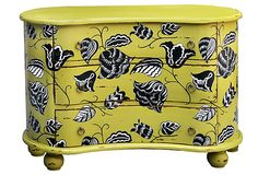 """STEVEN SHELL • Sanford Chest of Drawers :: Made of: mahogany/brass • Size: 51""""W x 24""""D x 35""""H • Color: lime green/black/white • Care: Dust and wax as needed in direction of the wood's grain."""