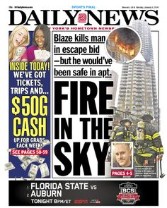 """FIRE IN THE SKY"" leads the Daily News"