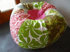 Surfer Girl Hawaiian Beach Bean Bag Chair With Fun By Paniolo, $140.00