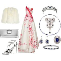 State Visit to Norway Day 1: Evening by queenalex on Polyvore featuring moda, Monique Lhuillier, Yves Saint Laurent, Tom Ford, Roger Vivier, Tiffany & Co., Ross-Simons and Epoque