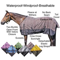 We love our Dura-Tech® 600D AQUANON Plaid/Print Turnouts! Keep your horse worm and cozy in this 600d ripstop outercover. Blanket is waterproof, windproof and breathable, blanket features include: traditional Euro fit-no back seam, fleece at withers, two buckle open front with Velcro closure assist, gussets, criss cross surcingles, detachable leg straps, tail cover and a contour fit. Available in heavyweight, midweight  or sheet. Neck cover available. Available in purple, blue or grey plaid.