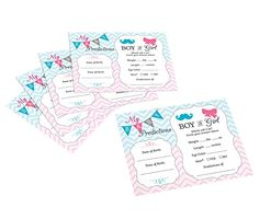 """#Lillian #Rose Pink & Blue Baby Gender Reveal 5.5"""" x 4.25"""" Prediction Cards. These gender reveal baby prediction cards are a fun party game that become a treasure..."""
