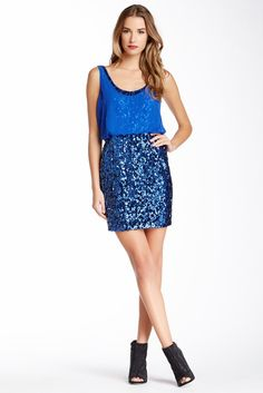 Aidan Mattox Aidan Sequin Popover Dress