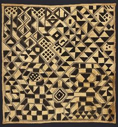 "Africa I Kuba ""velvet"" panel Shoowa people, Kuba Kingdom , DM Congo Early 20th century Raffia palm fiber, stem stitch and cut pile embroidery"