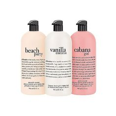 philosophy summer escape to the beach 32 oz shower gel trio ($65) ❤ liked on Polyvore featuring beauty products, bath & body products, body cleansers, fillers, beauty, makeup and filters