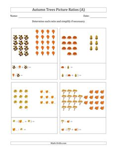 The Autumn Trees Picture Ratios (Grouped) (A) Math Worksheet from the Seasonal Math Worksheets Page at Math-Drills.com. Math Drills, Group Work, Fall Pictures, Math Worksheets, Learning Centers, Autumn Trees, Fractions, Teaching Tools, Mathematics