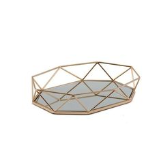 Metal Decorative Serving Trays - Octagon Mirrored Vanity Tray | eFavorMart Mirrored Serving Tray, Serving Tray Decor, Mirror Vanity Tray, Mirrored Vanity, Octagon Mirror, Tray Styling, Buy Crystals, Gold Material, Accent Pieces