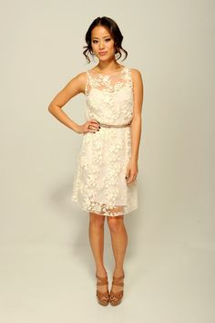 Jamie Chung completed her lacy look with a pair of strappy tan platform sandals.
