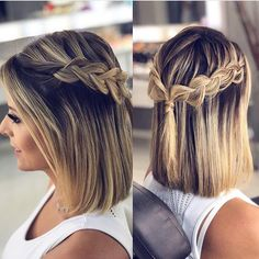 Peinados para fiesta cabello corto con trenza