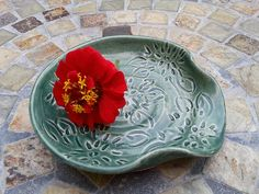 Ceramic Spoon Rest with Dahlia Carving in Teal *** See this great image  : Handmade Gifts