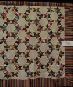 Quilt Inspiration: Vintage Hexagon Quilts. Stars and Hexagons quilt top, exhibited by Marge Imperatrice