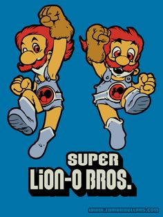 Nik Holmes gave the Mario Brothers one hell of a ThunderCats power up in his new mash up shirt design. Super Lion-O Bros. byNik Holmes