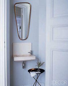 tiny & beautifully stylish powder room | via Small & Fabulous ~ Cityhaüs Design