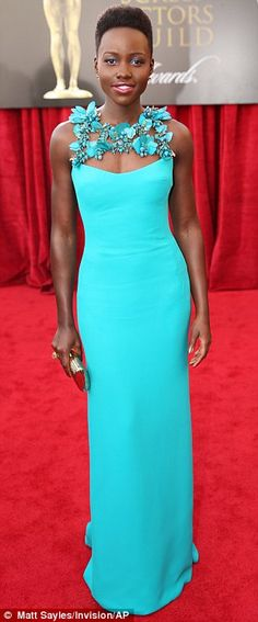 Winners are grinners: Amy Adams, Jennifer Lawrence and Lupita Nyong'o (from left) were on-trend in their gowns in various shades of blue as ...