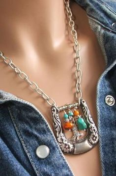 Take an old buckle, attach a chain and beads. Cute!!