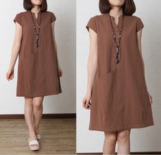 Women Cotton Linen Summer Large Size Loose Dress Sleeveless - $53.00