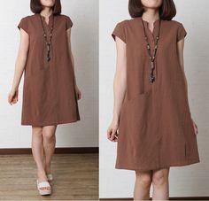 Women Cotton Linen Summer Large Size Loose Dress Sleeveless