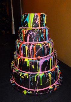 Neon-Painted Tiered Cake, on Craftsy