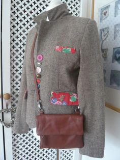 Updates: button variations, pocket sash, but tome it down with floral print piping instead of the entire pocket flap. Customised Clothes, Altering Clothes, Recycled Fashion, Embroidered Jacket, Cycling Outfit, Tweed Jacket, Refashion, Dressmaking, Diy Clothes