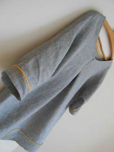 Tunique en lin biais moutarde étoilé ou  Tshirt de la loose ( lien du tuto vers le blog MCPB)