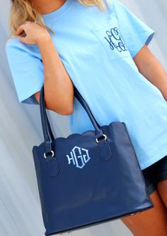 Monogrammed Scalloped Tote Purse and Monogrammed Short Sleeve T-Shirt from Marleylilly.com