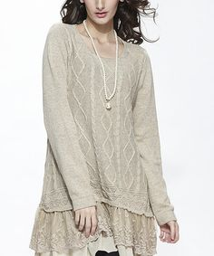 Another great find on #zulily! Beige Cable-Knit Layered Sweater #zulilyfinds