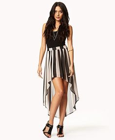 Vertical Striped High-Low Skirt
