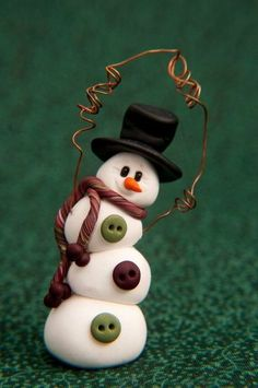 Juxtapost - Topsy-Turvy Clay Snowman Ornament / christmas xmas ideas.... I'm thinking marshmallows