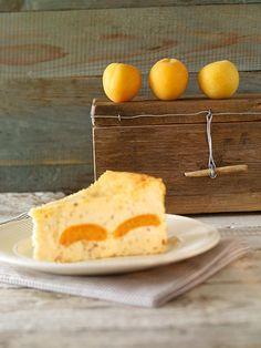 Käsekuchen ohne Boden mit Grieß, gehackten Haselnüssen und Aprikosen